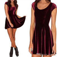 Wholesale VELVET MULLED WINE EVIL CHEERLEADER Women Clothing Party Evening Elegant Velvet Skater Dresses Pleated Dresses