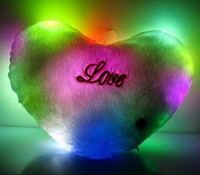 Wholesale led novelty toys led glowing heart pillow light night bright soft pillow light