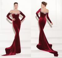 Cheap Tarik Ediz Prom Dresses Newest Wine Red Velvet Mermaid Beaded Zipper Back Fashion Prom Party Gown Formal Evening Dresses