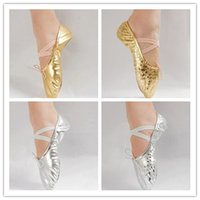 dance shoes - Gold silver Size23 children soft sole girls ballet shoes Women Ballet Dance Shoes for kids adult ladies