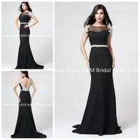 Wholesale Simple Style A Line Scoop Neckline Sexy Black Evening Prom Dresses Chiffon Applique Cap Sleeves Formal Long Lady Party Dress Real Photos