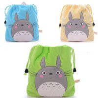 cute drawstring bag - 2016 New Design Cute Rolling Totoro Plush Green Organizer Sundries Drawstring Bag Pouch Ne