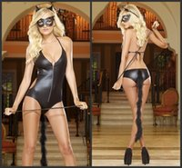 lady costume - Halloween costumes Black Cat Lingerie Underwear Jumpsuits Body stocking Open Fork Exposed Breasts For Womens Ladies Valentine s Day Gift Set