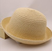 straw trilby hat - summer Unisex Vintage Beach hats girl boy straw hat kid caps Summer Trilby Packable Crushable Straw children s Sun Hat colors EMSfree ship