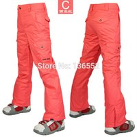 Wholesale 2015 womens watermelon red ski pants female blue snowboarding skiing pants winter sports trousers waterproof K top quality snow pants