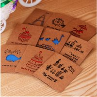 Wholesale Vintage Kraft Paper Cards Hollow Out Greeting Cards Birthday Cake Gift Cards