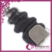 Cheap Brazilian Hair Silk base closure Best Natural Black Body wave hair closure