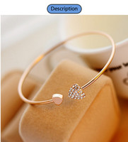 Wholesale New Women Fashion Style Alloy Gold and Silver Color Rhinestone Love Heart Bangle Cuff Bracelet Jewelry hot sale
