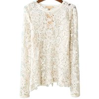 Cheap New Arrival Women Hollow Round Neck Lace Full Sleeve Chiffon Top Hot selling