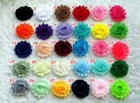 Wholesale 100pcs quot baby girl chic shabby frayed chiffon flower chiffon Rosette Trim flower for DIY creft hair flower patches flower wedding