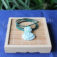 beaded peace necklace - 100 Natural Grade A Light Cyan Jade Gems Necklace Pendant China Mysterious Bless Peace Lucky Lotus Flower