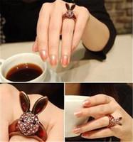 amethyst wine - Retro wine red full diamond long ears rabbit head ring Korean small jewelry influx of people ring D114