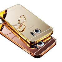 aluminum frame - Hybrid Aluminum Metal bumper Frame plastic Mirror back cover Case For Samsung Galaxy S7 edge g9350 s7 g9300 plating phone bags