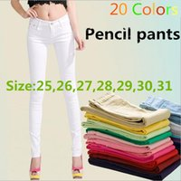 colored buttons - Hot Jeans women New Women s pants Sexy Spring elastic candy colored pencil Pants Jeans Trousers women s jeans summer