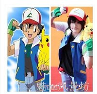 Wholesale best selling new Pokemon Ash Ketchum Trainer Costume Cosplay Jacket gloves hat