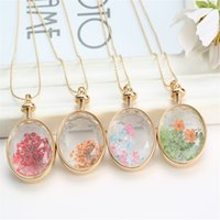air circles - New vintage gold color glass air real dried flower necklaces natural jewelry flower glass pendant necklace for women jewerly gift