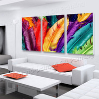 Cheap 3 Panels Fresh Look Color Feather Modern Wall Painting Flower Decorative Art Picture Paint On Canvas Print YX-1269