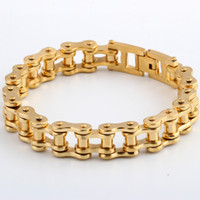 american classic bicycle - Classic Gold Plated Heavy MM Wide L Stainless Steel Bracelet Biker Bicycle Motorcycle Chain Bangle For Fashion Men