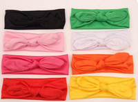 Wholesale fashion big bow head wrap lovely bowknot baby headbands cotton baby headwear girl hair bow colors