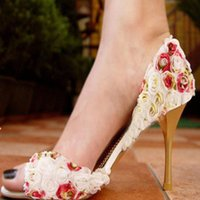 Cheap Sandal Floral Pearl Rhinestones High Heels 2015 New High Quality Prom Evening Party Dress Women Lady Bridal Wedding Shoes