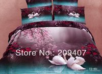 Wholesale Luxury Oil Painting Cotton D King Size Animal Swan Bedding Bed Set Duvet Covers