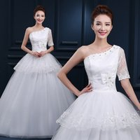 Wholesale LY31 Sexy Fashionable Plus Size Custom Made Real Photo Cheap One Shoulder Wedding Dress Bridal Dress of bride Gowns Dresses Vestidos