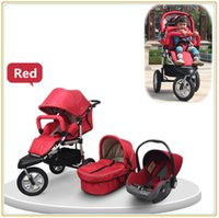 bassinet car seat - High Landscape Three Wheels Moisquito Net Fashion Baby Car Pushchair In Car Seat Sleepping Bassinet Colors Available