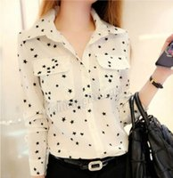 Wholesale Women Vintage Chiffon Star Print Lapel T Shirt Long Sleeve Casual Tops Blouse