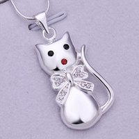 achat en gros de collier arc d'argent pour les femmes-925 en argent sterling charme Bonjour Kitty mignon pendentif en cristal arc chat Fit 2mm Snake Chain bijoux collier pour les femmes P322