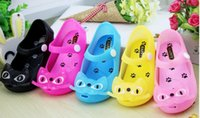 Wholesale The New Candy Color Children s Sandals Baby Cute Cartoon Cat Toe Shoes Children Beach Sandals Slipper