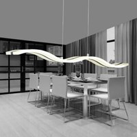 Wholesale Modern creative light rectangular highbright chandelier restaurant bar desk lamp hanging acryl light cut off wave meal droplight