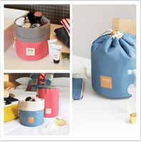 Wholesale 2015 Christmas gift Barrel Shaped Travel Cosmetic Bag Nylon High Capacity Drawstring Elegant Drum Wash Bags Makeup Organizer Storage Bag