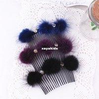 Wholesale Xayakids Hairpin Korean fashion hair Korea headdress mink hair ball comb a11c comb Yiwu handmade jewelry Baby Headband