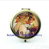 alphonse mucha - New Arrival Alphonse Mucha Pocket Mirror Autumn Harvest Photo Mirror Pocket Cosmetic Mirrorr