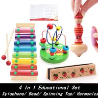 Wholesale Baby Toys In Educational Set Xylophone Round Bead Spinning Top Harmonica Wooden Toy Child Learning Classic Toy Birthday Gift