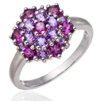 Wholesale Genuine Amethyst and Rhodolite Garnet Solid Sterling Silver Cluster Rings for Women Fine Jewelry