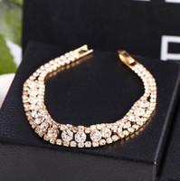 Wholesale Silver Gold Tone Rows Wedding Engagement Bridal Jewelry Rhinestone Crystal Bridal Bracelet Bangle