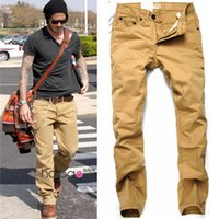 Wholesale 2016 Casual Pants fashion modern leisure quality brand designer same beckham two color pants jeans popular yellow slacks