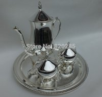 Wholesale shiny silver plated metal coffee set tea set for weddings or party set tray pot jars