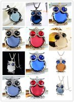 Wholesale 12 Colors New Owl Necklace Top Quality Rhinestone Crystal Pendant Necklaces Classic Animal Long Necklace Jewelry For Women Gift