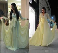beige prom dresses - Dubai Abaya Arabic Evening Gowns Long Sleeves Yellow Prom Dresses Beige V Neck Chiffon Cheap Plus Size Formal Occasion Dress