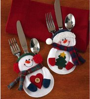 acrylic cutlery - 8pcs set Christmas Lovely Snowman Kitchen Cutlery Suit Silverware Holders Knifes Forks Bag Snowman Shaped Christmas Gifts party decoration