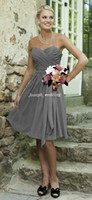 A-Line beach images free - Vintage Beach Summer Dress Sweetheart Neckline Chiffon Knee Length Short Bridesmaid Dress Grey Color BD231