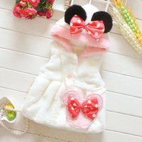 Wholesale Autumn Baby girls Waistcoat Warm Vests Polka Dots Warm Coral Velvet Outerwear Children s Clothing Toddler Girl Vest with Hood