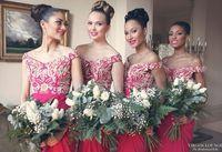 Cheap Arabic Sheath Fuchsia Chiffon Bridesmaid Dresses Off Shoulder Shiny Sequins Ruffles Lace Girls Party Dresses