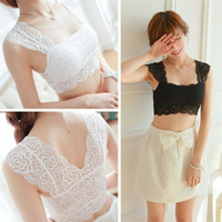 Wholesale New Arrivals Women Lady Bralette Bra Bustier Tanks Top Cami Camisoles Vest Lace Padded Sexy Black White EB37