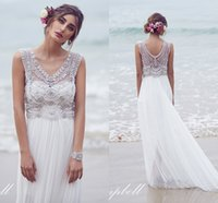 Wholesale Modest Beading Pearls Wedding Dresses Beach Crystals Beaded Sweetheart Sexy Backless Cap Sleeve Pleats Wedding Gowns Bridal Dress