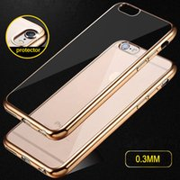 Wholesale Luxury Ultra Thin Clear Crystal Rubber Plating Electroplating TPU Soft Mobile Phone Case For iPhone s s Plus Cover bag