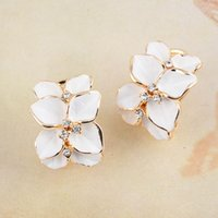 Wholesale Wedding Jewelry Women Earrings Bijoux K Rose Gold Plate Genuine Elements Austrian Crystal Enamel Flower Earring