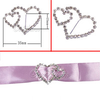 Wholesale 10 Double Heart Diamante Clear Crystal Rhinestone Buckle Invitation Ribbon Slider mm